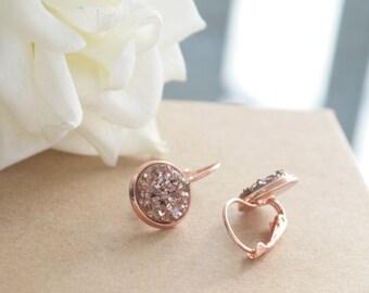 Rose Gold Druzy Drop Earrings