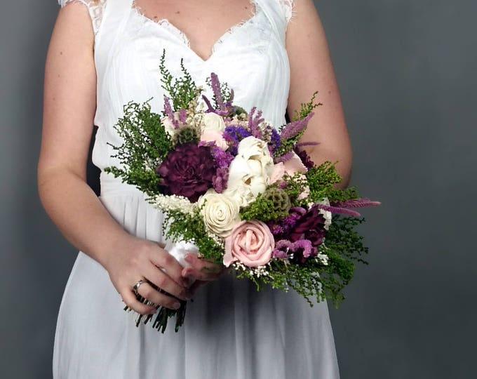 Natural Preserved wedding bouquet greenery burgundy purple lilac pink sola flowers boho vintage style original bridal rustic romantic