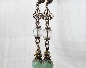 Aventurine Long Dangle Earrings, Brass Filigree Earings, Vintage Style Green Gemstone Earrings, 1920's Inspired Jewellery, Handmade UK