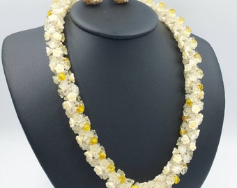 Vendome Glass Flowers Necklace Earrings Set Yellow Ombre Glass Flower Beads Woven Necklace Cluster Clip On Earrings