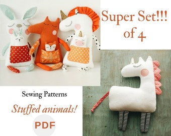 Stuffed animal pattern PDF Unicorn Rabbit bunny sewing Easy tutorial Fox pattern Soft toy pdf Unicorn sewing pattern Bunny toy Fox soft PDF