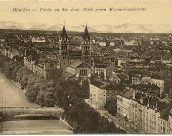 Maximilian Church on ISAR River Munich MUNCHEN Germany 1922 POSTCARD PostKarte