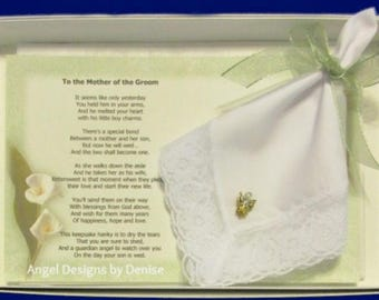Mother of the Groom From Friend Hanky & Angel Pin Gift Set,Friend Gift, Wedding Handkerchief, Happy Tears, Gift For Mum, Mom of Groom