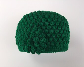READY TO SHIP/Kelly Green Hat/Crochet/Knitted Beanie/Thick/Chunky Hat/Cap/Warm Winter Hat/Flower Hat/Adult/Women/Ladies/Teen/Girls/Ski/Toque