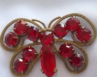 Vintage Butterfly Red Glass Brooch Pin - WOW