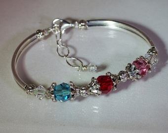 Swarovski Crystal Jewelry -  Mothers or Grandmothers Bracelet - 3 to 5 Birthstones