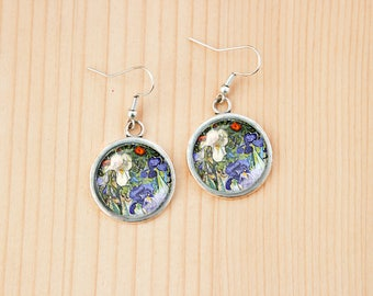 Irises in the garden Vincent Van Gogh painting earrings art gift idea birthday christmas studs
