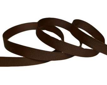 "Brown Grosgrain Ribbon. 3/8"" Width. Narrow Grosgrain Ribbon. 5 Yards. No. 850"