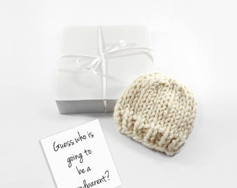 Grandparents Baby Announcement, Pregnancy Reveal, Baby Hat, Neutral Newborn Gift