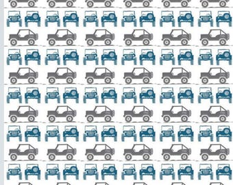 Blue and Gray Jeeps on White in the J is for Jeep Collection by Riley Blake