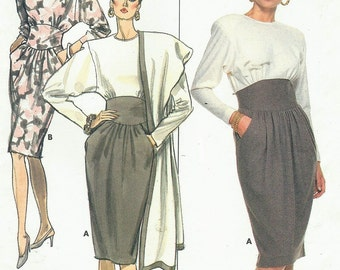 80s Ronnie Heller Womens Dress & Stole Butterick Sewing Pattern 5871 Size 8 10 12 Bust 31 1/2 to 34 UnCut Vintage Sewing Pattern