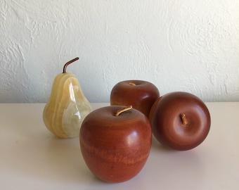 Vintage wooden apple, wooden desk apple, vintage apple teachers gift