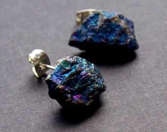 Raw Peacock Ore Chunk Earrings, Geo Earrings, Rock Stud Earrings
