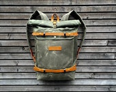 Waxed canvas rucksack- toll top backpack with waxed canvas shoulderstraps