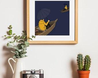 Lake house decor, Affiche, Funny bathroom art, Tumblr room decor, Mustard yellow decor, Downloadable prints, Amsterdam poster, Rowboat