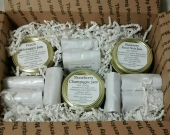 Cordial Jam Gift by WEE, Gift Set, Fudge Gift, Bread GIft, Jam, Preserves, Food Gift, Chocolate, Strawberry Jam, Blueberry, Peach, Champagne