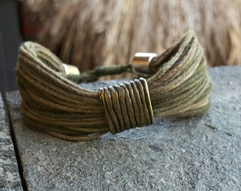Hand Dyed Multistring Bracelet, Men Bracelet, Rustic Bracelet, Surfer Jewelry