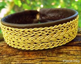 Genuine Sami Bracelet Cuff SKADI with 14K Gold filled Braids on Antique Brown Leather.