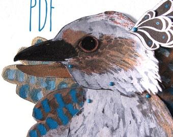PDF Kookaburra Man Articulated Paper Doll / Hinged Beasts Series