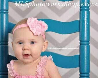 Valentine's Day Baby Girl Chiffon Ruffled Rose Heart Shaped Flower Headband - Baby Girl Heart Headband Available in Ivory or Baby Pink