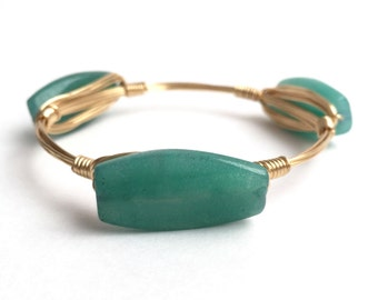 Green Jade Wire Bangle, Bangle, Bracelet, Wire Bangle, Bridesmaid Gift, Bourbon and Boweties Inspired