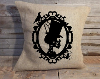 Skeleton Halloween burlap pillow cover