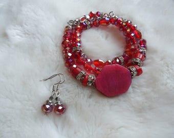 gemstone crystal coral  bracelets earrings set