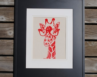 Red Giraffe Kitchen Wall Decor - Living Room Print - African Wall Art Gift - Bridesmaid Gift -Bridal Shower Gift for Bride -Gifts for Sister