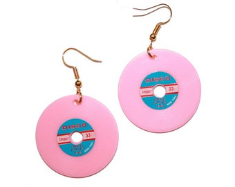 Vintage Kitsch Vinyl Record Earrings - Vinyl record collector jewelry kitschy earring jewelry wax colored vinyl Dead stock retro pin up
