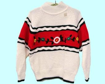 Folkloric Flowers 80s Boxy Acrylic Sweater NOS size L large