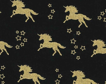 Gold Unicorns on Black ~Custom Made Fitted Crib Sheets and Pillow Cases ~