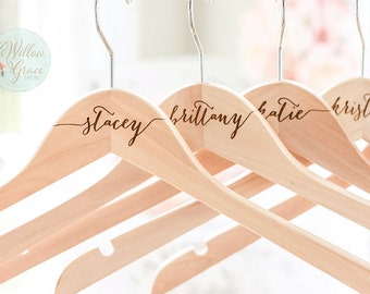 Personalized Bridesmaid Hangers, Engraved Wedding Hangers