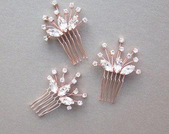 Swarovski crystal hair combs, Bridal crystal hair combs, Wedding hair pins, Rose gold hair combs, Sparkly bridal spray pins combs