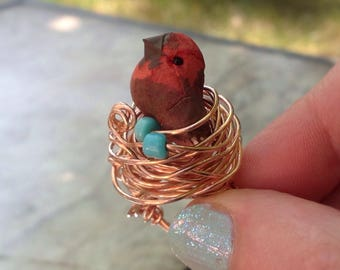 The birds nest copper and turquoise bohemian bird statement ring
