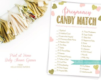 Pregnancy Candy Match Game . Pink and Gold Baby Shower Games Printable . Instant Download . Baby Shower Game Girl . Pink and Glitter Hearts