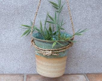 Hanging herb planter hand thrown stoneware pottery ceramic plant pot wheelthrown handmade