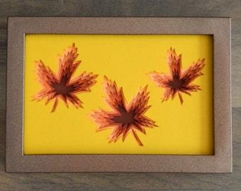 3D Paper Sculpture Maple Leaves Autumn