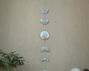 Moon Phases Wall Hanging Silver Full Moon Wall Decor Moon Wall Art - Moon Child - Lunar - Moon Mobile