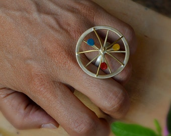 Spinning top ring, Silver, kinetic ring, brass ring, funky ring, adjustable ring