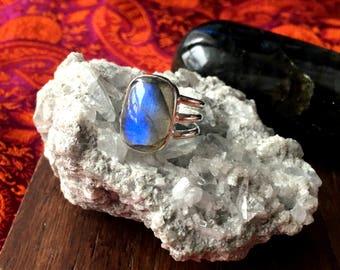 Gorgeous 925 Sterling Silver Labradorite Gemstone Ring Size 6 Healing Crystals Healing Stones Reiki Chakra Boho