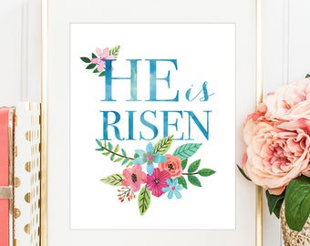 Easter Wall Art, He Is Risen, Easter Print, Happy Easter Print, PRINTABLE WALL ART, Spring Decor, Bible Quote, Easter Printable