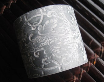 SALE Silver Cuff Bracelet Light Rose Damask Design, Wedding Bridal Jewelry by theshagbag
