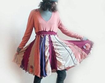 Boho dress, romantic, upcycled clothing, cotton dress, upcycling, recycled cloth, recycled clothing, women's dress, bohemian clothing, boho style
