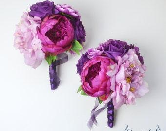 Bridesmaid Bouquet, Silk Flower Bouquet, Peony Bouquet, Lavender Peony Bouquet, Purple Bouquet, Peony Bridesmaid Bouquet, Beach Bouquet