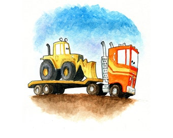 Orange Semi Truck and Yellow Front Loader Tractor Heading to the Construction Site