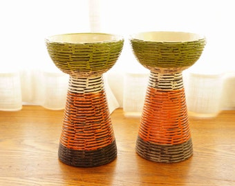 Artsy Candle Holders by Rosenthal Netter -- Lovely Raymore Pottery Made in Italy -- Classy Mid Century Home Decor