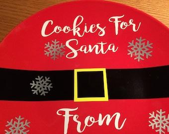 Personalized Cookies for Santa Plate, Santa Cookies Plate, Kids Christmas gift christmas cookie plate