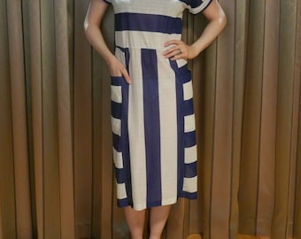 Vintage 80s 20s flapper style navy and white striped tunic beach sundress UK 10-12