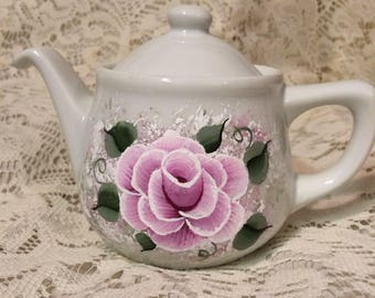 New Shabby Victorian Cottage Chic Pink Rose Ceramic Teapot Hand Painted
