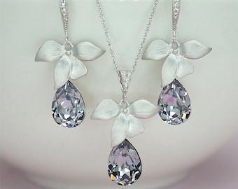 Bridesmaid Jewelry Set Orchid flower Earrings Lavender Wedding Necklace, Teardrop Crystal Necklace,  violet Bridesmaid Earrings  Set